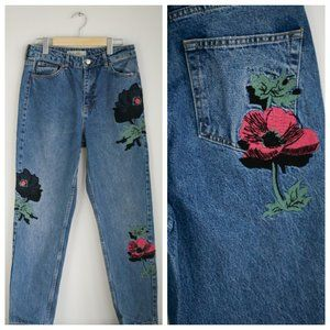 Top Shop Embroeridered Floral Moto Mom Jean